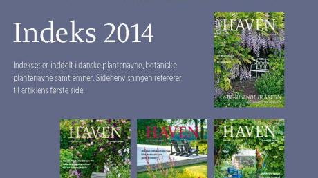 Artikelindeks for magasinet HAVEN 2014