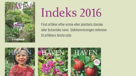 Artikelindeks for magasinet HAVEN 2016
